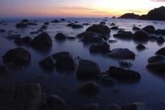 Lowtide de Malibu en la puesta del sol Imagen de archivo libre de regalías