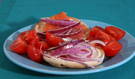 Lox and Bagels with Onions and Tomatoes Stock Photos