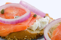 Lox and cheese on toasted bagel Stock Image