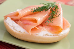 Lox and Cream Cheese Bagel Stock Images