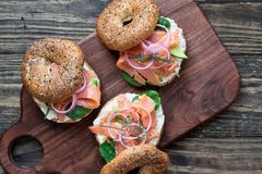 Lox Everything Bagel With Smoked Salmon And Cream Cheese Royalty Free Stock Image