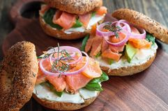 Lox Everything Bagels With Smoked Salmon Avocado And Cream Cheese Stock Image