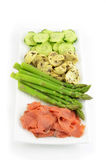 Lox with fresh and marinated vegetables Stock Photo