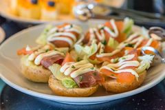Lox on Mini Bagels with Cream Cheese spread Royalty Free Stock Photography
