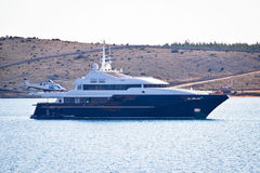 Free Loxury Yacht With Helicopter Onboard Royalty Free Stock Photography - 49553887