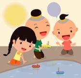 Loy för tecknad filmtecken krathong festival3 Arkivfoto