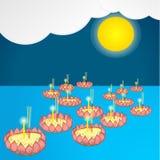 Loy Kra Tong Festival tiré par la main de la Thaïlande Illustration de Vecteur