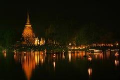Loy krathong节日, Sukhothai省, Thailan 库存照片