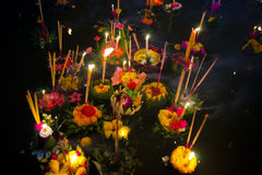Loy Krathong Boats royalty free stock photography