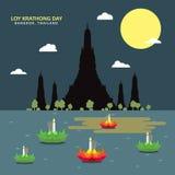 Loy krathong day, bangkok thailand, vector Royalty Free Stock Images