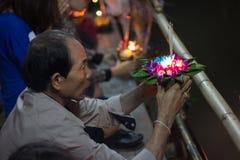 Loy Krathong Day en Thaïlande Photographie stock