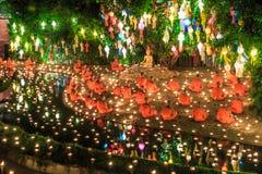 Loy Krathong-Festival bei Wat Pan Tao Stockbilder