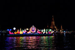 Loy Krathong festival in the Chao Phraya River. Stock Photos