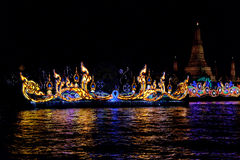 Loy Krathong festival in the Chao Phraya River. Royalty Free Stock Photos
