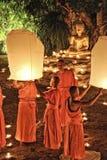Loy Krathong festival i Chiangmai Royaltyfria Bilder