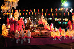 Loy Krathong Festival 2011. Lampang, Thailand. The woman in local suite singing on the stage. Loi Krathong takes place on the evening of the full moon of the Stock Photos