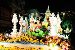 Loy Krathong Festival 2011. Lampang, Thailand. The woman in local suite singing on the stage. Loi Krathong takes place on the evening of the full moon of the Stock Images