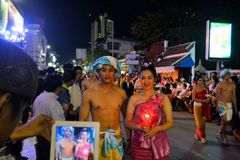 Loy Krathong festival parade for Yee Peng, Chiang Stock Photo