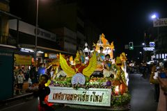 Loy Krathong festival parade for Yee Peng, Chiang Stock Photography