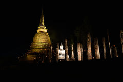 Loy Krathong festival  in Sukhothai historical park Royalty Free Stock Photography