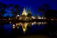 Loy Krathong festival  in Sukhothai historical park Royalty Free Stock Image