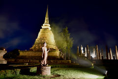 Loy Krathong festival  in Sukhothai historical park Royalty Free Stock Photo