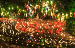 Loy Krathong festival at Wat Phan Tao Stock Photos