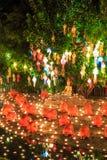 Loy Krathong festiwal przy Watem Phan Tao Fotografia Royalty Free