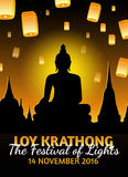 Loy Krathong greeting card with fire lanterns, thai holiday Royalty Free Stock Photography