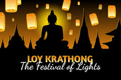 Loy Krathong greeting card with fire lanterns, thai holiday. Loy Krathong 2016 greeting card and invitation. Yi Peng Festival. Text `The festival of lights`. Fly Royalty Free Stock Photography