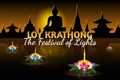 Loy Krathong greeting card with floating krathongs, thai holiday Royalty Free Stock Photography