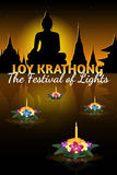 Loy Krathong greeting card with floating krathongs, thai holiday. Loy Krathong 2016 greeting card and invitation. Yi Peng Festival. Text `The festival of lights vector illustration