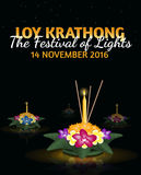 Loy Krathong greeting card with floating krathongs, thai holiday. Loy Krathong 2016 greeting card and invitation. Yi Peng Festival. Text `The festival of lights Royalty Free Illustration