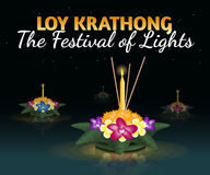 Loy Krathong greeting card with floating krathongs, thai holiday. Loy Krathong 2016 greeting card and invitation. Yi Peng Festival. Text `The festival of lights stock illustration