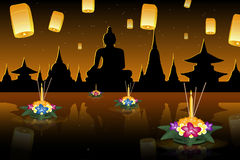 Loy Krathong greeting card with floating lanterns, thai holiday Royalty Free Stock Photos