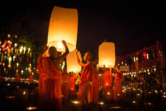 Loy Krathong,lantern,Buddhist Monks Release Sky L Royalty Free Stock Photo