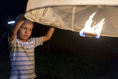 Loy Krathong  Lantern and Little Boy Stock Images