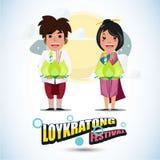 Loy Krathong tecken Thailand festivalbegrepp - Royaltyfria Foton