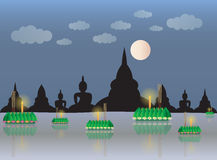 Loy Krathong with temple  Royalty Free Stock Image