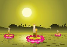 Loy Krathong,Thai famous festival, illustration,full moon. With temple and tree background Royalty Free Stock Image