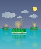 Loy Krathong, Thai full moon traditional festival Royalty Free Stock Photo