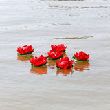 Loy krathong in thailand river Stock Images
