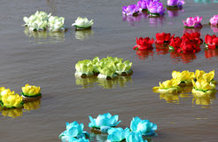 Loy krathong in thailand river Royalty Free Stock Photography