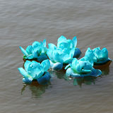 Loy krathong in thailand river Stock Photo