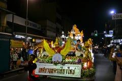 Loy Krathong Yee的彭,城镇节日游行 图库摄影