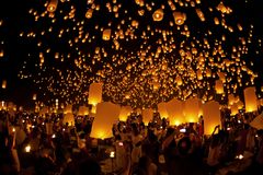 Thailand Festival. CHIANGMAI THAILAND OCTOBER 28 : people lift the sky landterns in Loy Krathong and Yi Peng Festival on October 28, 2011 Chiangmai, Thailand Stock Image
