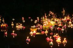 Loy krathongfestival, Thailand Arkivbilder