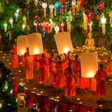 Loy Kratong Festival, Buddhist monk fire candles Royalty Free Stock Images