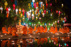 Loy Kratong Festival in Phan Tao Temple, Chiangmai, Thailand Royalty Free Stock Photo