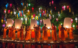 Loy Kratong Festival in Phan Tao Temple, Chiangmai, Thailand Royalty Free Stock Photos